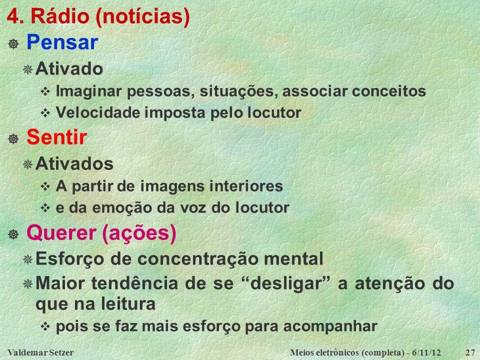 Valdemar SetzerMeios eletrônicos (completa) - 6/11/1227 4. Rádio (notícias)  Pensar  Ativado  Imaginar pessoas, situações, associar conceitos  Vel