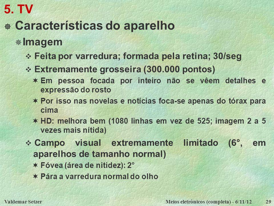 Valdemar SetzerMeios eletrônicos (completa) - 6/11/1229 5. TV  Características do aparelho  Imagem  Feita por varredura; formada pela retina; 30/se