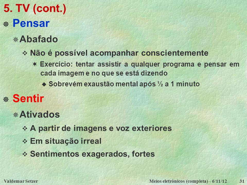 Valdemar SetzerMeios eletrônicos (completa) - 6/11/1231 5. TV (cont.)  Pensar  Abafado  Não é possível acompanhar conscientemente  Exercício: tent