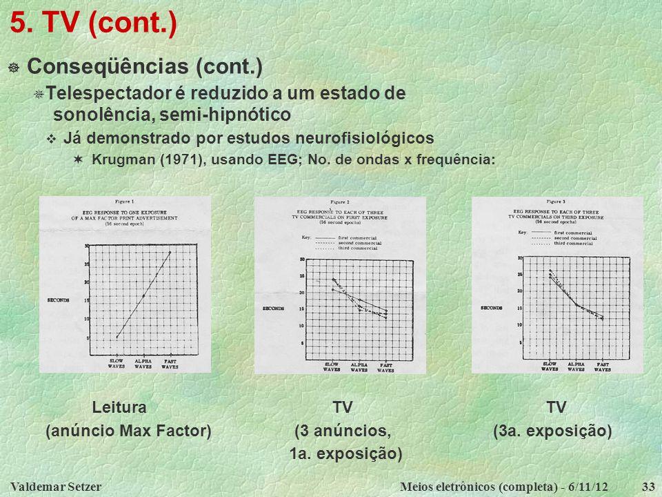 Valdemar SetzerMeios eletrônicos (completa) - 6/11/1233 5. TV (cont.)  Conseqüências (cont.)  Telespectador é reduzido a um estado de sonolência, se