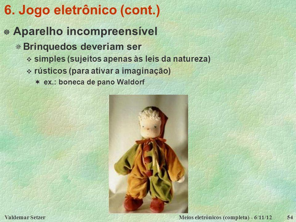 Valdemar SetzerMeios eletrônicos (completa) - 6/11/1254 6. Jogo eletrônico (cont.)  Aparelho incompreensível  Brinquedos deveriam ser  simples (suj