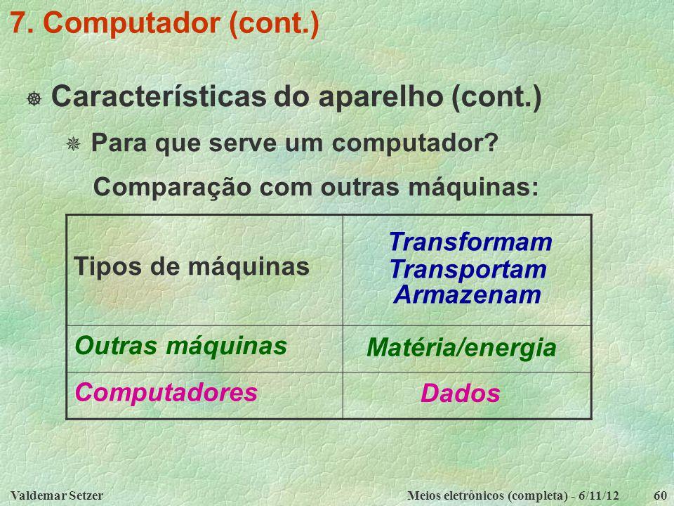 Valdemar SetzerMeios eletrônicos (completa) - 6/11/1260 7. Computador (cont.)  Características do aparelho (cont.)  Para que serve um computador? Co
