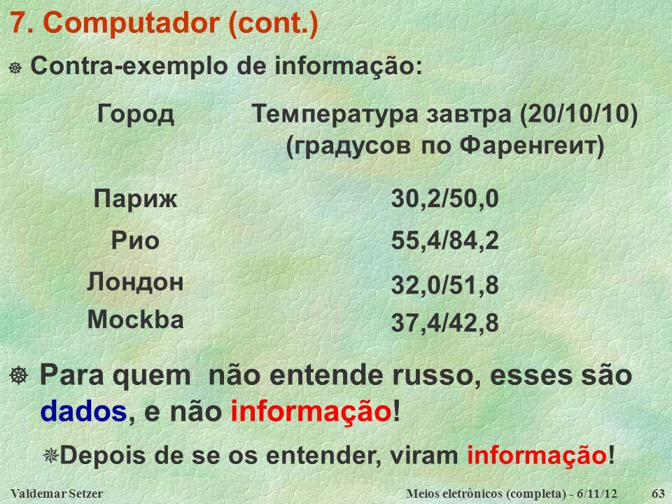 Valdemar SetzerMeios eletrônicos (completa) - 6/11/1263 7. Computador (cont.)  Contra-exemplo de informação: ГородТемпература завтра (20/10/10) (град