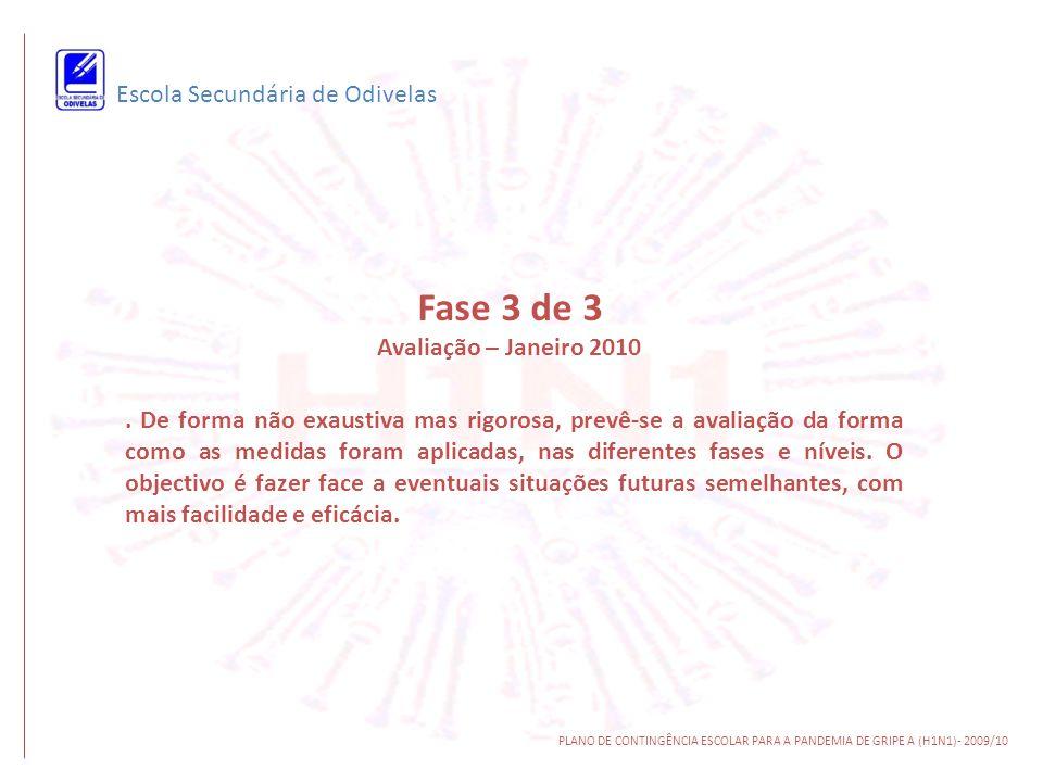 Escola Secundária de Odivelas PLANO DE CONTINGÊNCIA ESCOLAR PARA A PANDEMIA DE GRIPE A (H1N1)- 2009/10. De forma não exaustiva mas rigorosa, prevê-se