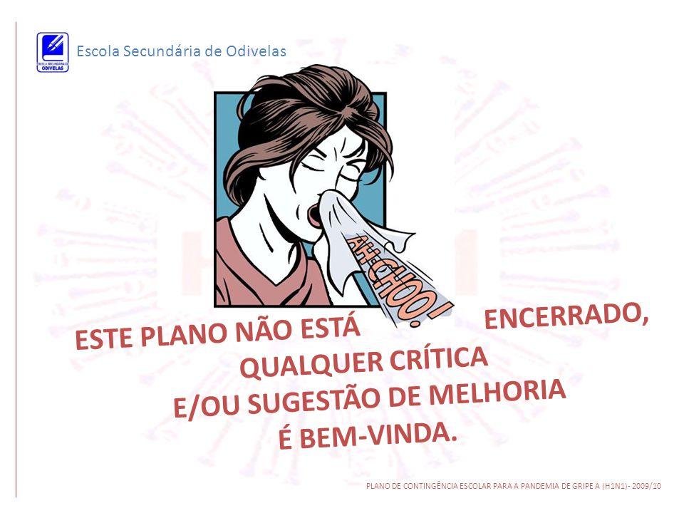 Escola Secundária de Odivelas PLANO DE CONTINGÊNCIA ESCOLAR PARA A PANDEMIA DE GRIPE A (H1N1)- 2009/10 E S T E P L A N O N Ã O E S T Á E N C E R R A D