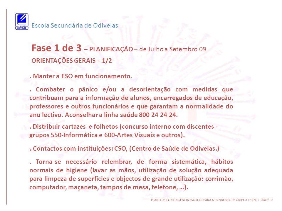 Escola Secundária de Odivelas PLANO DE CONTINGÊNCIA ESCOLAR PARA A PANDEMIA DE GRIPE A (H1N1)- 2009/10 P7 – De que formas se poderá manter o contacto didáctico- pedagógico entre o professor e o aluno.