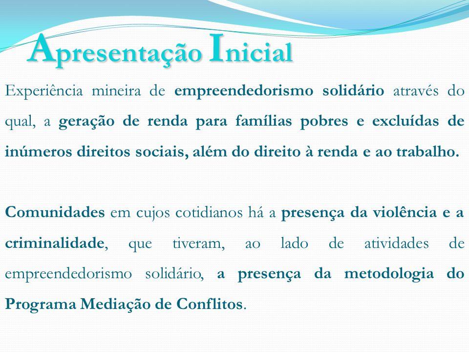 A presentação I nicial Experiência mineira de empreendedorismo solidário através do qual, a geração de renda para famílias pobres e excluídas de inúmeros direitos sociais, além do direito à renda e ao trabalho.