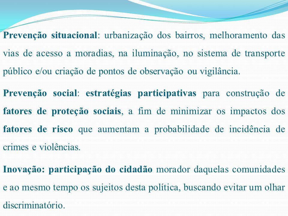 Prevenção situacional: urbanização dos bairros, melhoramento das vias de acesso a moradias, na iluminação, no sistema de transporte público e/ou criação de pontos de observação ou vigilância.