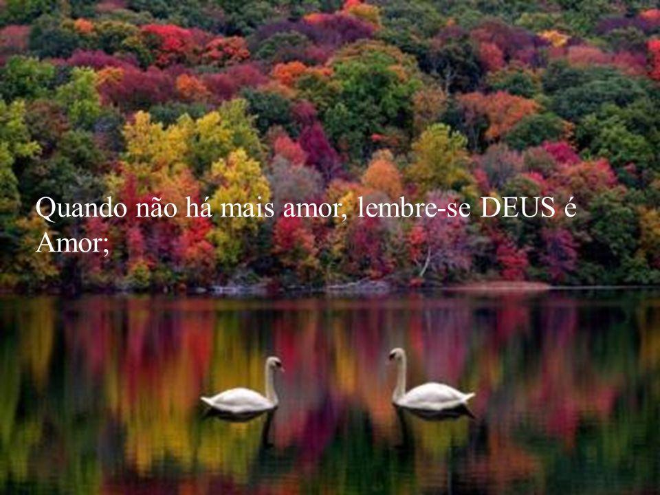 Quando não há mais amor, lembre-se DEUS é Amor;