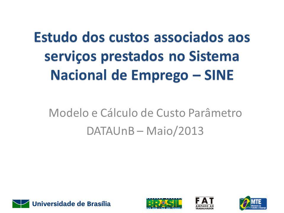 Estudo dos custos associados aos serviços prestados no Sistema Nacional de Emprego – SINE Modelo e Cálculo de Custo Parâmetro DATAUnB – Maio/2013