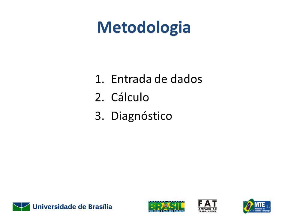 Metodologia 1.Entrada de dados 2.Cálculo 3.Diagnóstico 13
