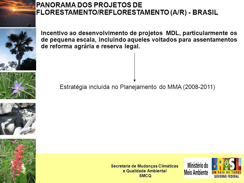 PANORAMA DOS PROJETOS DE FLORESTAMENTO/REFLORESTAMENTO (A/R) - BRASIL Incentivo ao desenvolvimento de projetos MDL, particularmente os de pequena escala, incluindo aqueles voltados para assentamentos de reforma agrária e reserva legal.