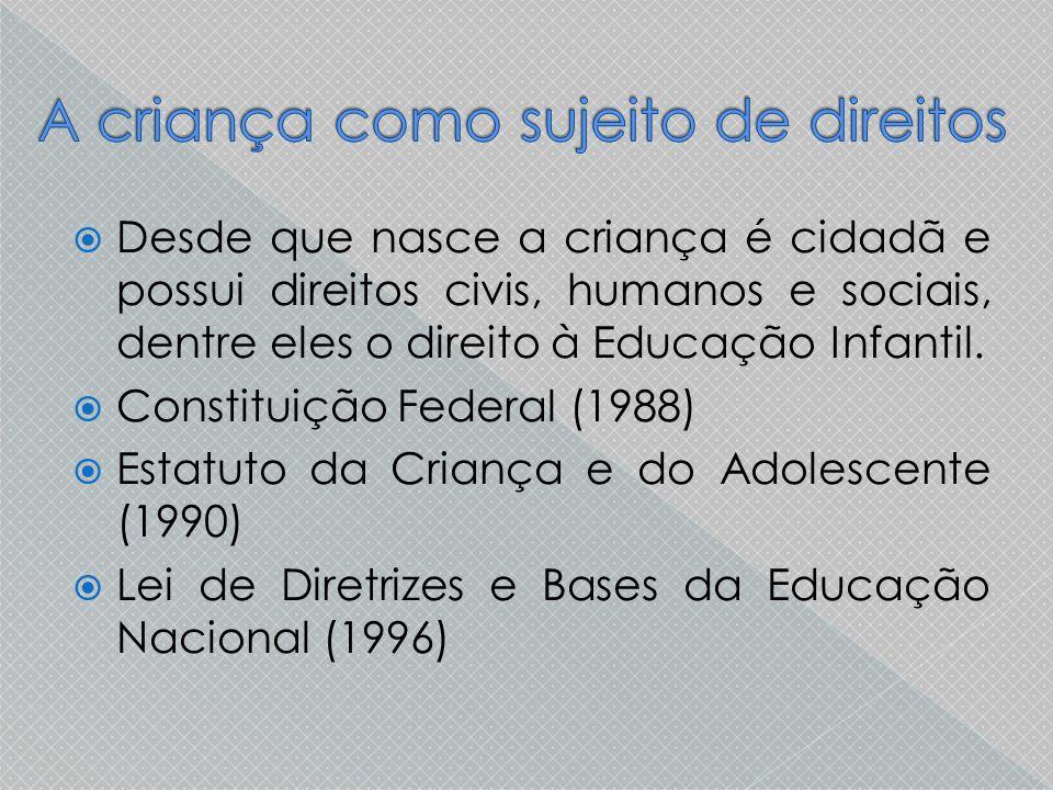  Desde que nasce a criança é cidadã e possui direitos civis, humanos e sociais, dentre eles o direito à Educação Infantil.  Constituição Federal (19