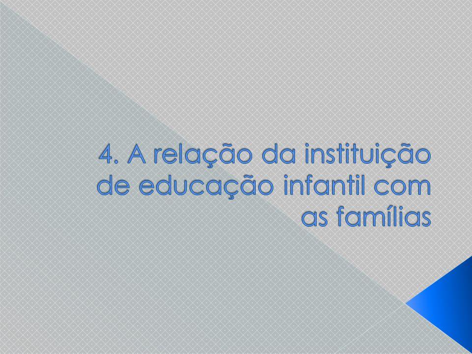 O trabalho com as famílias das crianças requer que a equipe de educadores procure compreendê-las e tê-las como parceiras.
