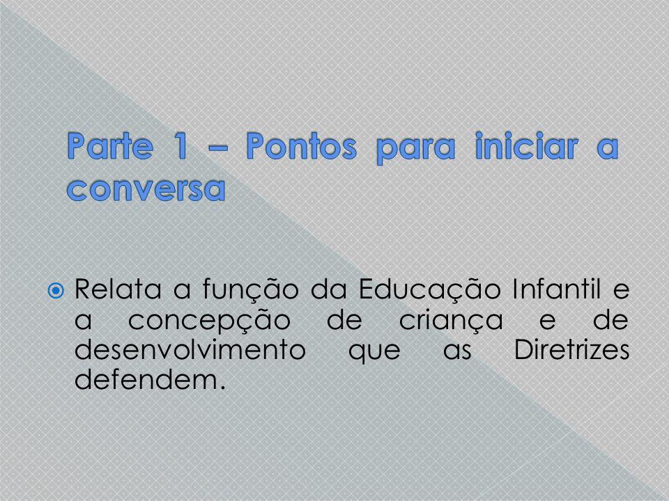  Relata a função da Educação Infantil e a concepção de criança e de desenvolvimento que as Diretrizes defendem.