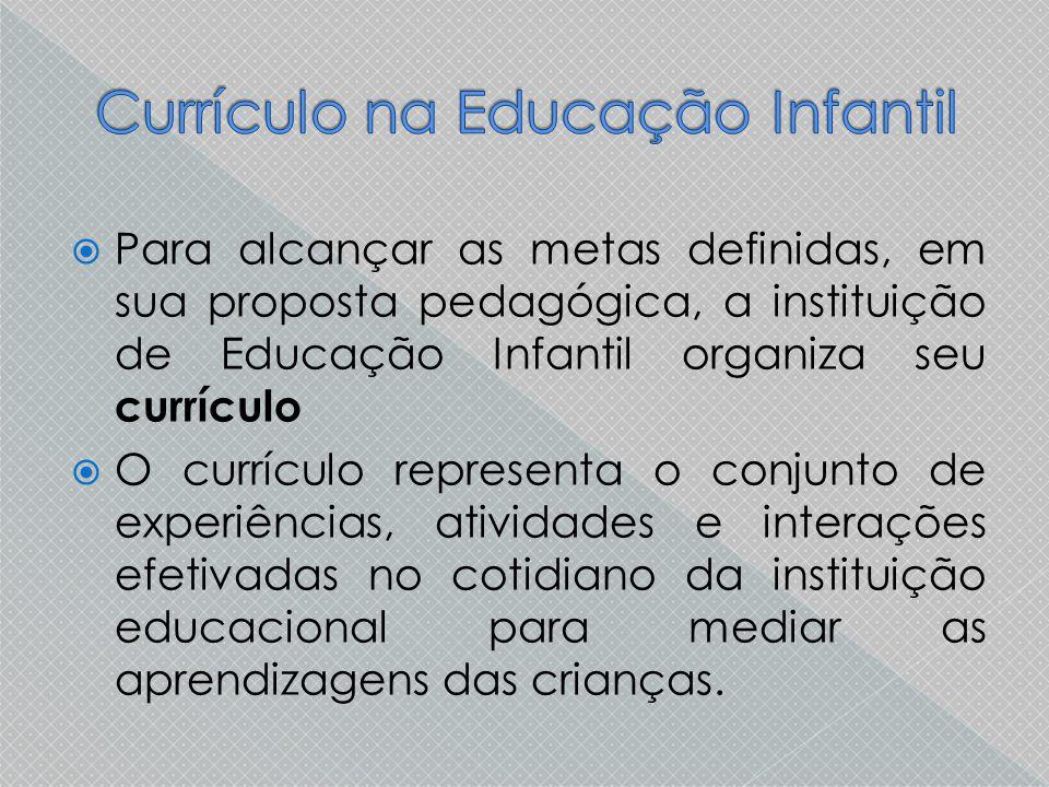  Para alcançar as metas definidas, em sua proposta pedagógica, a instituição de Educação Infantil organiza seu currículo  O currículo representa o c