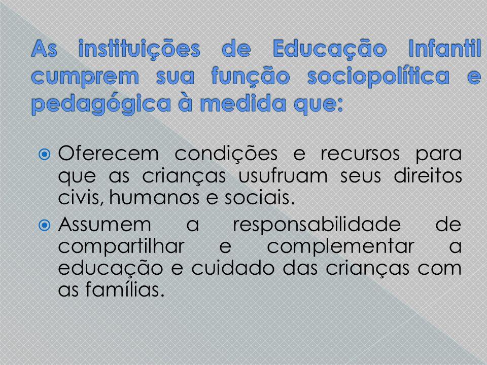  Oferecem condições e recursos para que as crianças usufruam seus direitos civis, humanos e sociais.