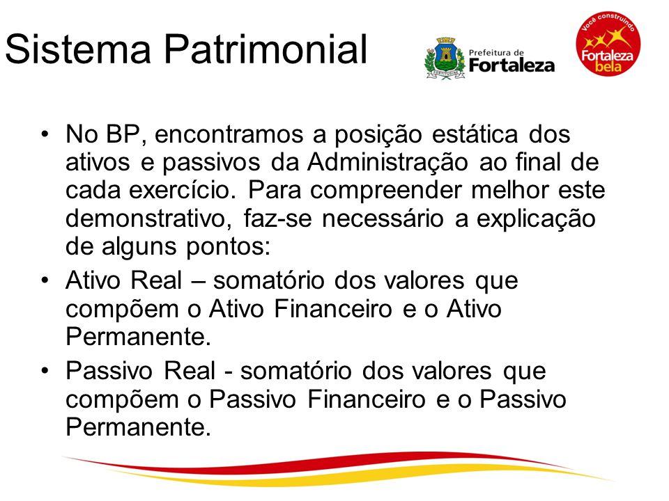 Sistema Patrimonial No BP, encontramos a posição estática dos ativos e passivos da Administração ao final de cada exercício. Para compreender melhor e