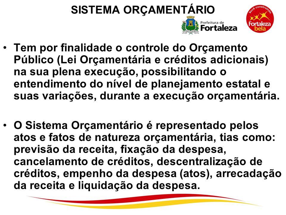 SISTEMA ORÇAMENTÁRIO Tem por finalidade o controle do Orçamento Público (Lei Orçamentária e créditos adicionais) na sua plena execução, possibilitando
