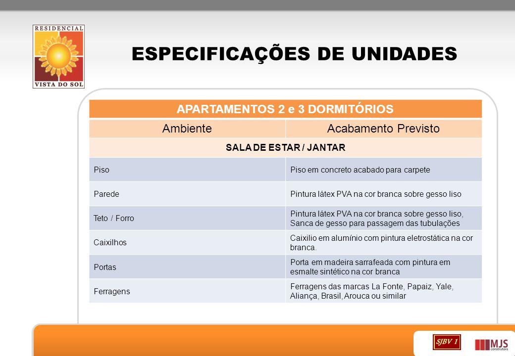 ESPECIFICAÇÕES DE UNIDADES APARTAMENTOS 2 e 3 DORMITÓRIOS AmbienteAcabamento Previsto SALA DE ESTAR / JANTAR PisoPiso em concreto acabado para carpete