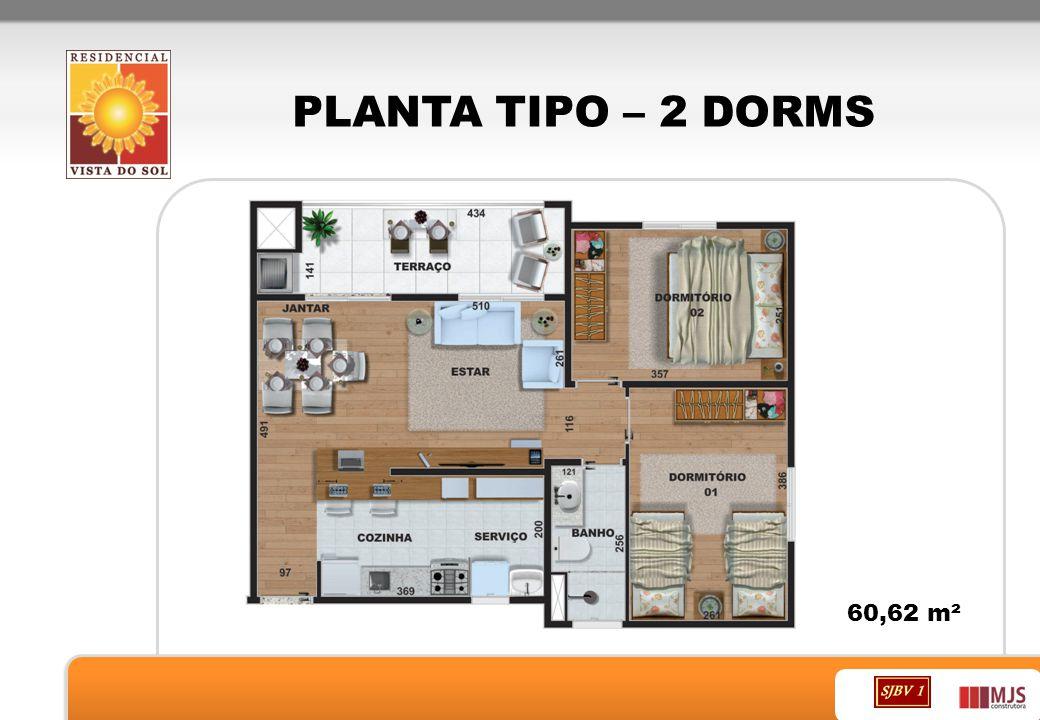 PLANTA TIPO – 2 DORMS 60,62 m²