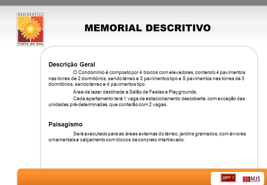 MEMORIAL DESCRITIVO Fundações Conforme projeto específico realizado por empresa especializada atendendo as Normas Técnicas da ABNT.