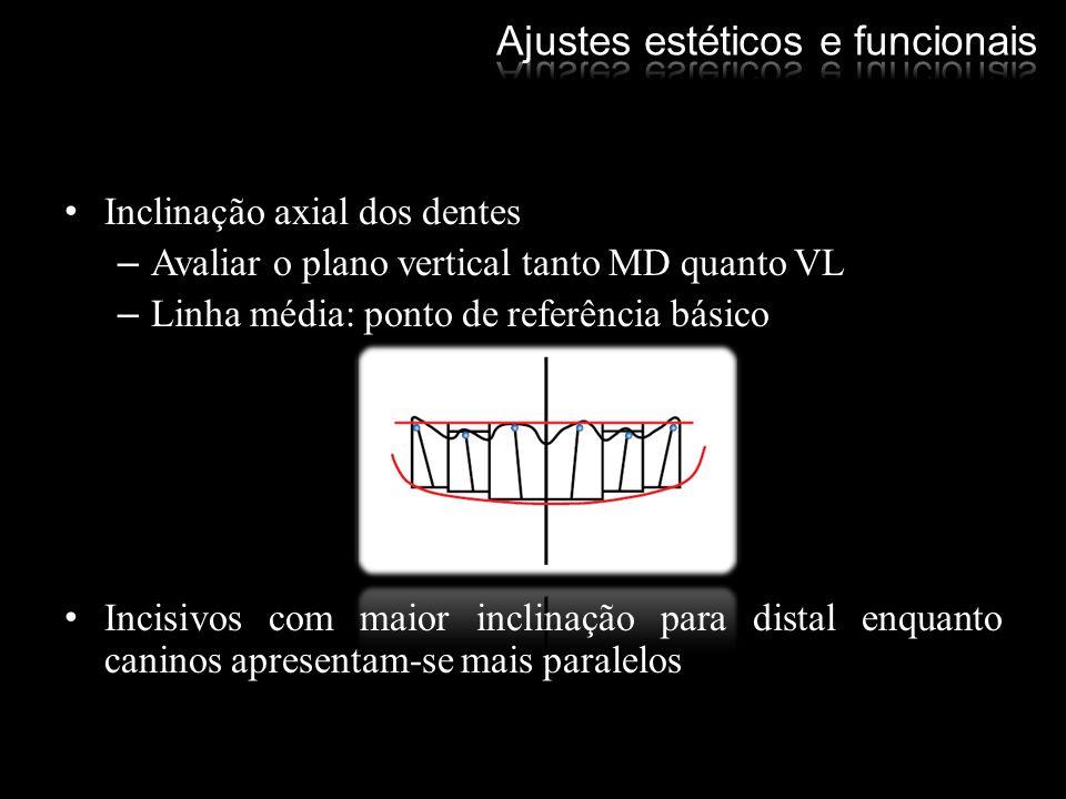 Inclinação axial dos dentes –Avaliar o plano vertical tanto MD quanto VL –Linha média: ponto de referência básico Incisivos com maior inclinação para