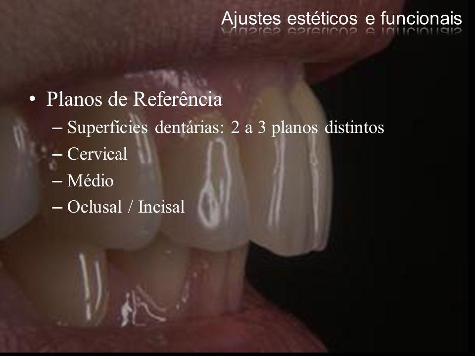 Planos de Referência –Superfícies dentárias: 2 a 3 planos distintos –Cervical –Médio –Oclusal / Incisal