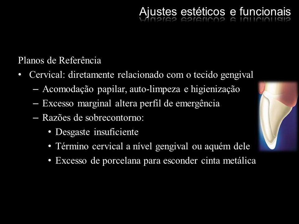 Planos de Referência Cervical: diretamente relacionado com o tecido gengival –Acomodação papilar, auto-limpeza e higienização –Excesso marginal altera
