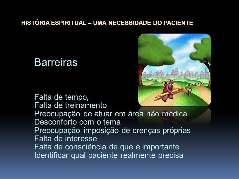 Barreiras Falta de tempo, Falta de treinamento Preocupação de atuar em área não médica Desconforto com o tema Preocupação imposição de crenças própria