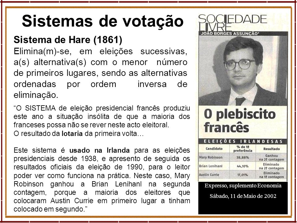 11 Sistemas de votação Expresso, suplemento Economia Sábado, 11 de Maio de 2002 Sistema de Hare (1861) Elimina(m)-se, em eleições sucessivas, a(s) alt
