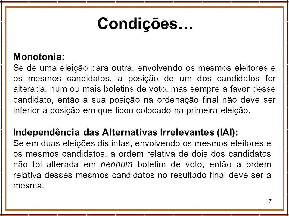17 Condições… Monotonia: Se de uma eleição para outra, envolvendo os mesmos eleitores e os mesmos candidatos, a posição de um dos candidatos for alter