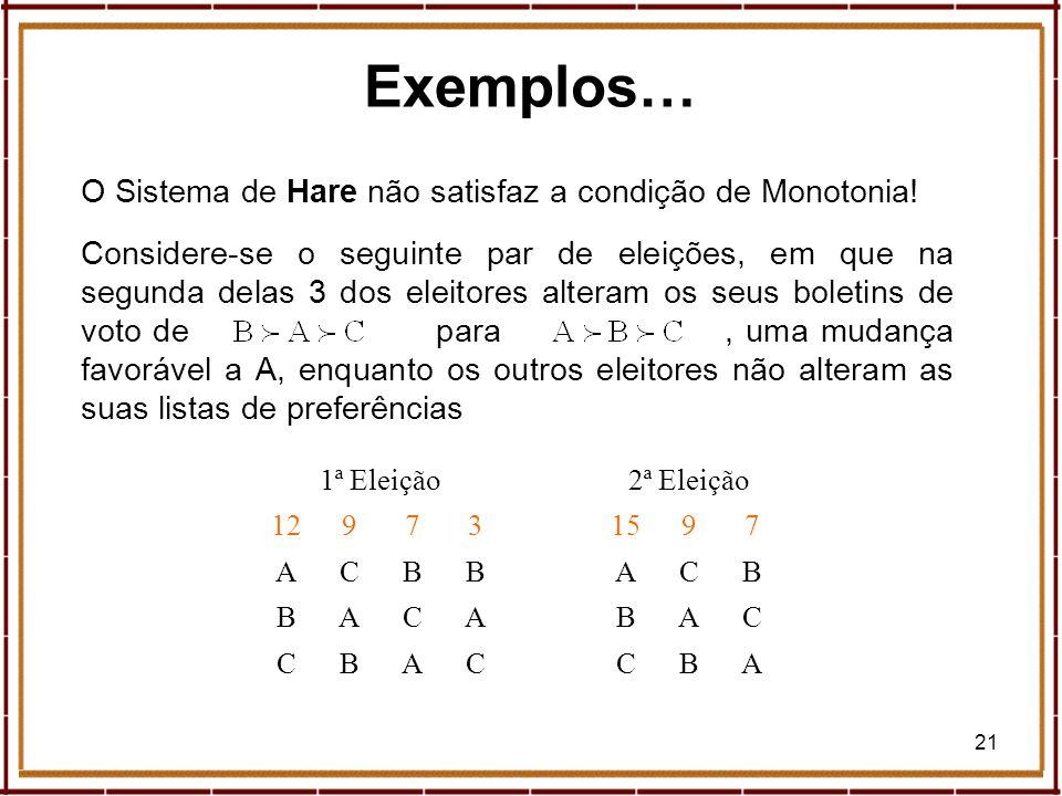 21 O Sistema de Hare não satisfaz a condição de Monotonia! Considere-se o seguinte par de eleições, em que na segunda delas 3 dos eleitores alteram os