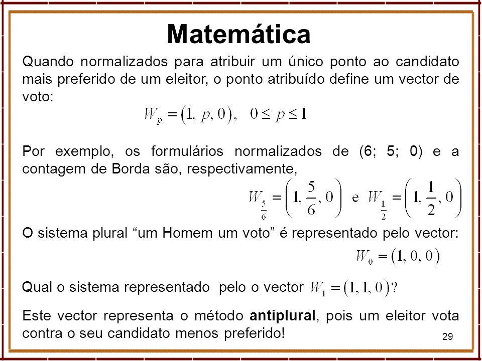29 Quando normalizados para atribuir um único ponto ao candidato mais preferido de um eleitor, o ponto atribuído define um vector de voto: Por exemplo