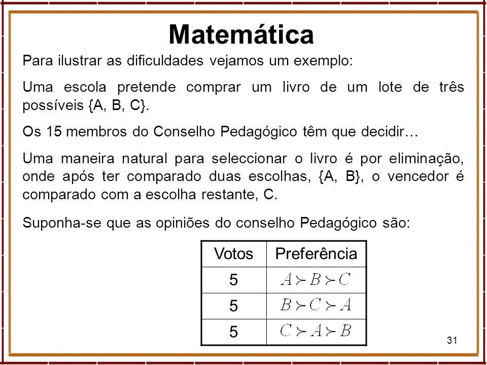 31 Para ilustrar as dificuldades vejamos um exemplo: Uma escola pretende comprar um livro de um lote de três possíveis {A, B, C}. Os 15 membros do Con