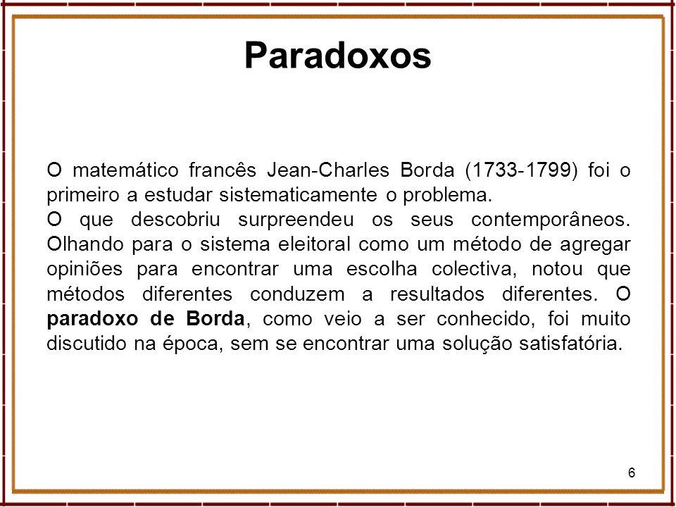 6 O matemático francês Jean-Charles Borda (1733-1799) foi o primeiro a estudar sistematicamente o problema. O que descobriu surpreendeu os seus contem