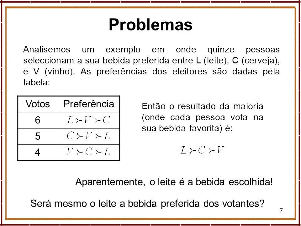 28 Geometria, Eleições e Paradoxos Segundo Saari a contagem de Borda é a melhor (casos como o anterior raramente acontecem).