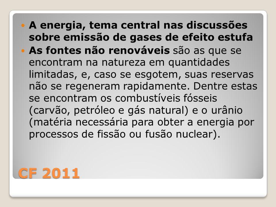 CF 2011 A energia, tema central nas discussões sobre emissão de gases de efeito estufa As fontes não renováveis são as que se encontram na natureza em quantidades limitadas, e, caso se esgotem, suas reservas não se regeneram rapidamente.