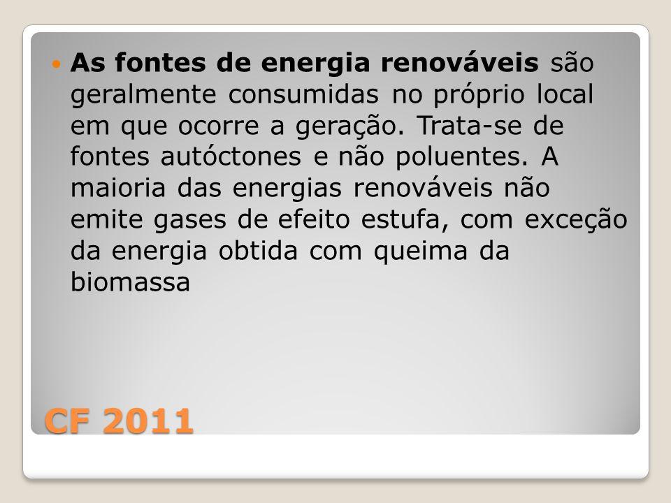CF 2011 As fontes de energia renováveis são geralmente consumidas no próprio local em que ocorre a geração. Trata-se de fontes autóctones e não poluen