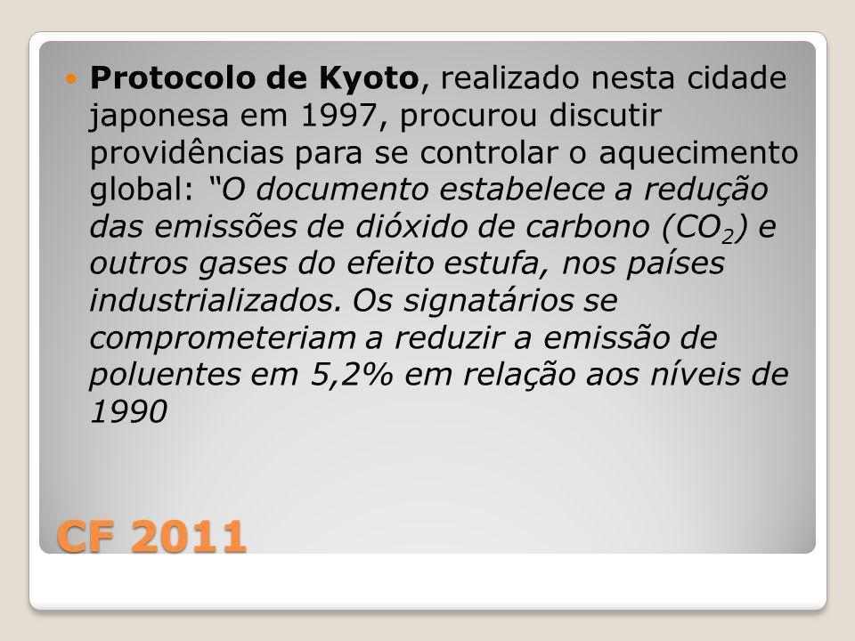 CF 2011 Protocolo de Kyoto, realizado nesta cidade japonesa em 1997, procurou discutir providências para se controlar o aquecimento global: O documento estabelece a redução das emissões de dióxido de carbono (CO 2 ) e outros gases do efeito estufa, nos países industrializados.
