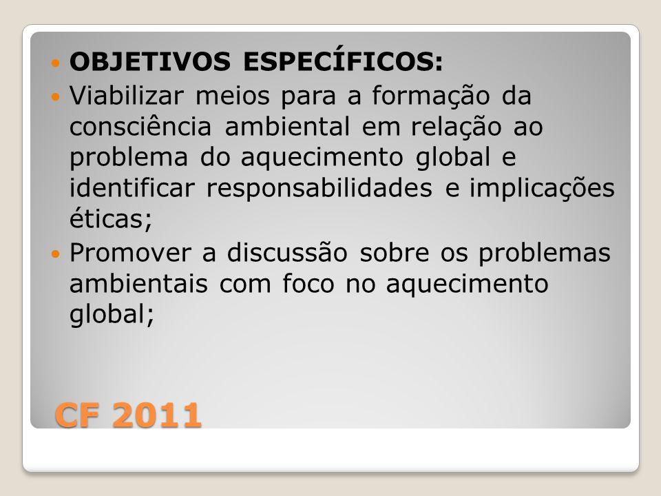 CF 2011 CF 2011 OBJETIVOS ESPECÍFICOS: Viabilizar meios para a formação da consciência ambiental em relação ao problema do aquecimento global e identi