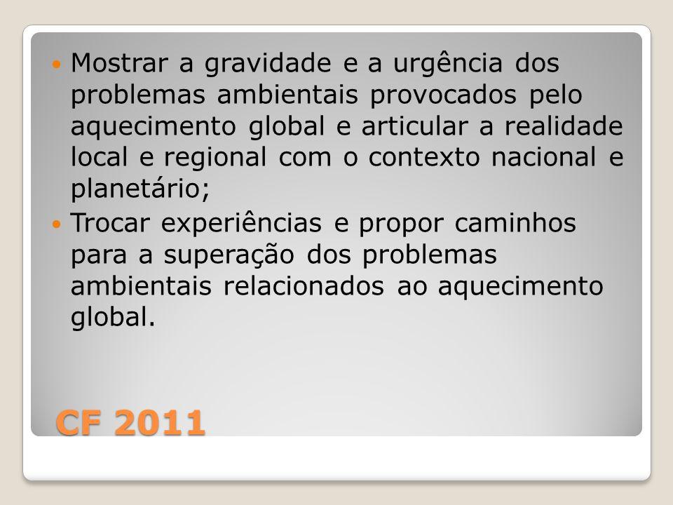 CF 2011 CF 2011 Mostrar a gravidade e a urgência dos problemas ambientais provocados pelo aquecimento global e articular a realidade local e regional