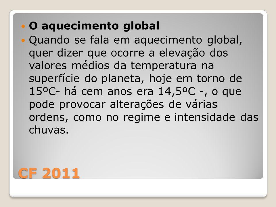 CF 2011 O aquecimento global Quando se fala em aquecimento global, quer dizer que ocorre a elevação dos valores médios da temperatura na superfície do
