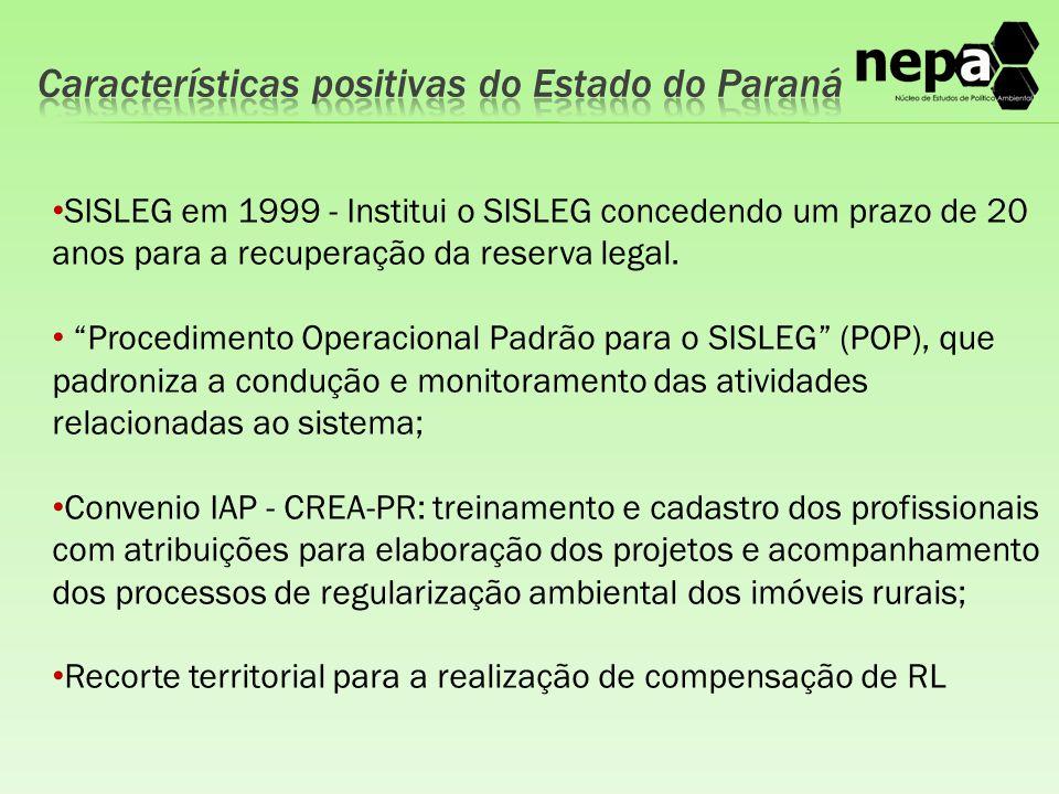 """SISLEG em 1999 - Institui o SISLEG concedendo um prazo de 20 anos para a recuperação da reserva legal. """"Procedimento Operacional Padrão para o SISLEG"""""""