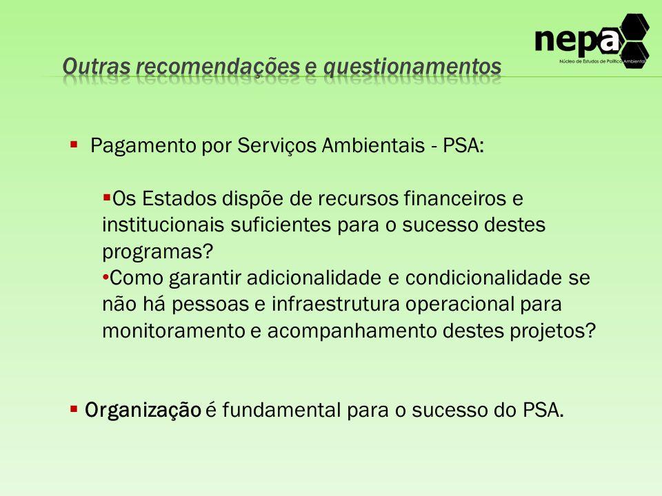  Pagamento por Serviços Ambientais - PSA:  Os Estados dispõe de recursos financeiros e institucionais suficientes para o sucesso destes programas.