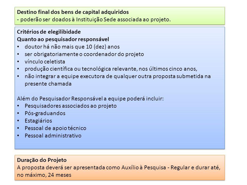 Roteiro para a apresentação de propostas e formulários exigidos (http://www.fapesp.br/137#4784)http://www.fapesp.br/137#4784 Itens (1) a (8): máximo 20 páginas, fonteTimes New Roman 12 e espaçamento 1.5.