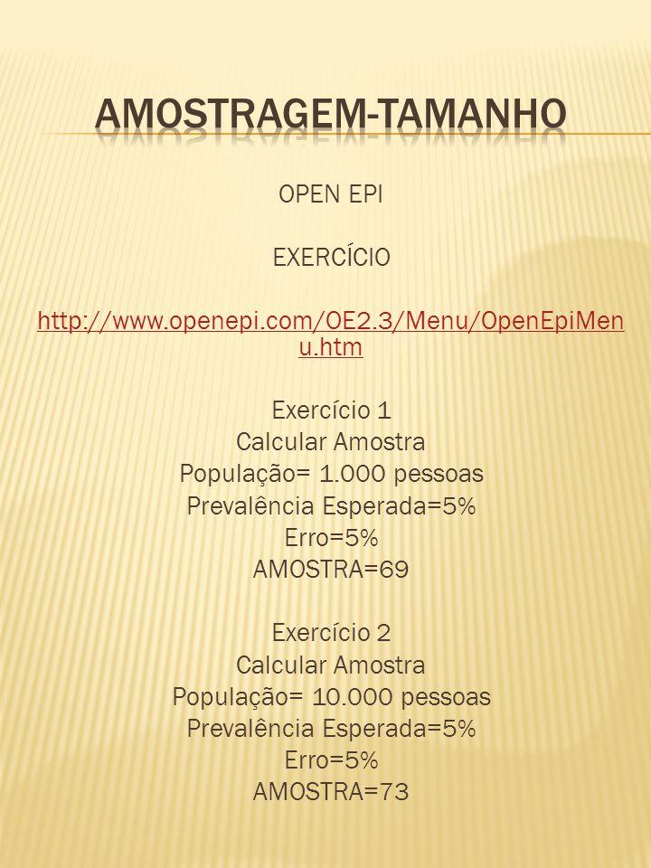OPEN EPI EXERCÍCIO http://www.openepi.com/OE2.3/Menu/OpenEpiMen u.htm Exercício 1 Calcular Amostra População= 1.000 pessoas Prevalência Esperada=5% Erro=5% AMOSTRA=69 Exercício 2 Calcular Amostra População= 10.000 pessoas Prevalência Esperada=5% Erro=5% AMOSTRA=73