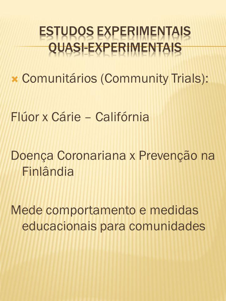  Comunitários (Community Trials): Flúor x Cárie – Califórnia Doença Coronariana x Prevenção na Finlândia Mede comportamento e medidas educacionais para comunidades