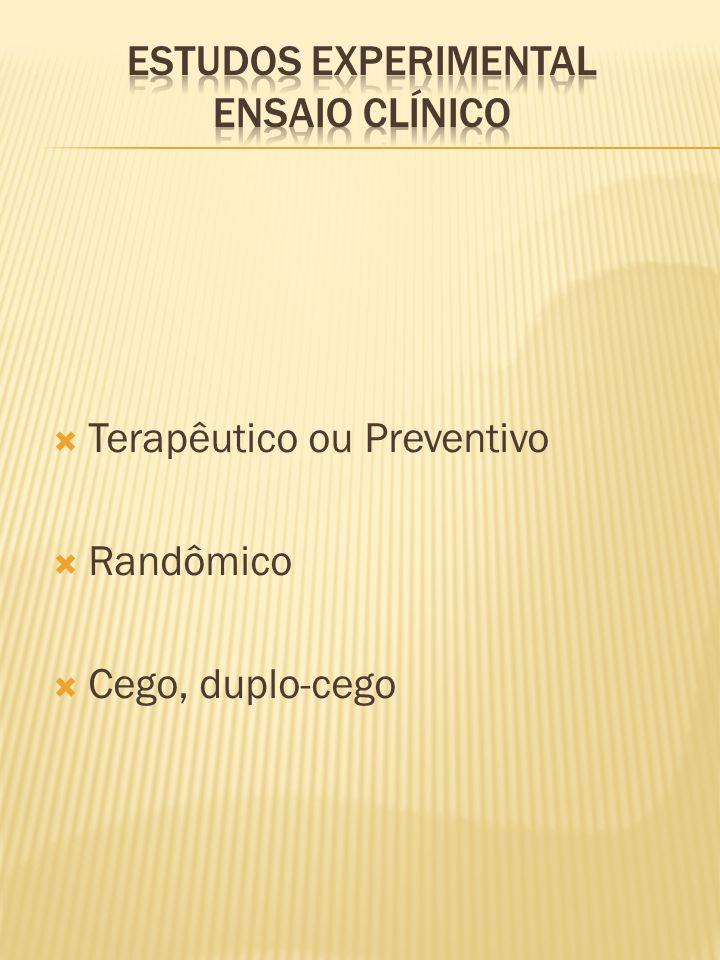  Terapêutico ou Preventivo  Randômico  Cego, duplo-cego