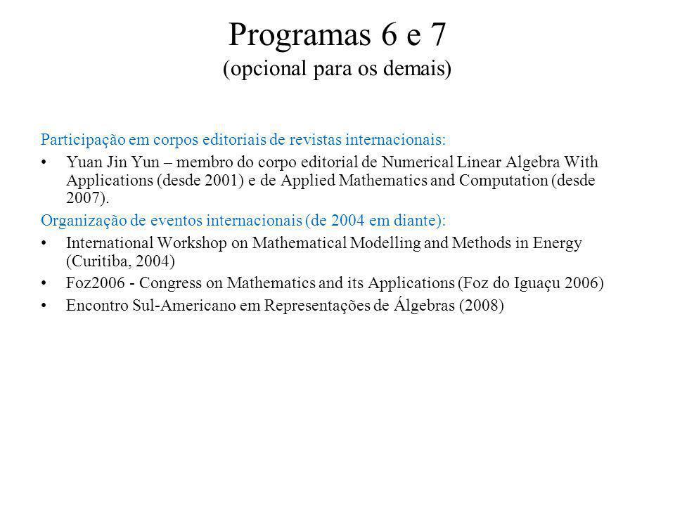 Programas 6 e 7 (opcional para os demais) Participação em corpos editoriais de revistas internacionais: Yuan Jin Yun – membro do corpo editorial de Numerical Linear Algebra With Applications (desde 2001) e de Applied Mathematics and Computation (desde 2007).